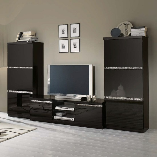 Regal Living Set 1 In Black With Gloss Lacquer Crystal Details_1