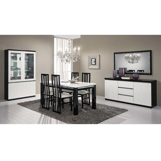 Regal Sideboard In Black White Gloss Lacquer Crystal Details_2
