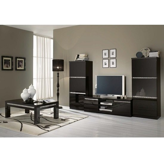 Regal Living Set 1 In Black With Gloss Lacquer Crystal Details_2