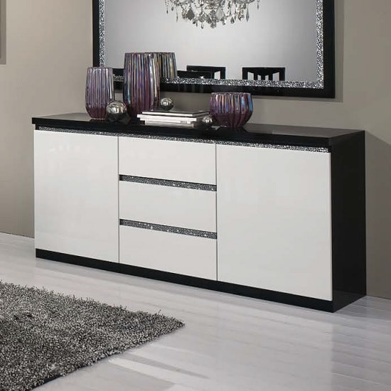 Regal Sideboard In Black White Gloss Lacquer Crystal Details