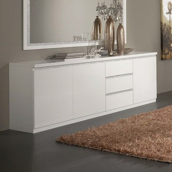Regal Sideboard In White With Gloss Lacquer And Crystal Details