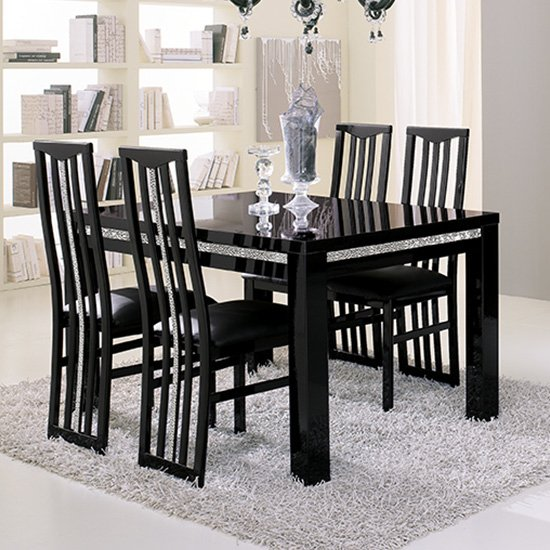 Regal Crystal Details Black Gloss Dining Table 4 Black Chairs