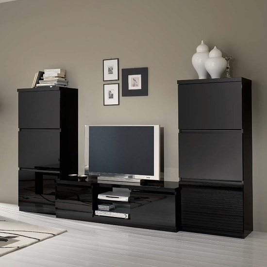 Regal Living Room Set 1 In Black With High Gloss Lacquer_1