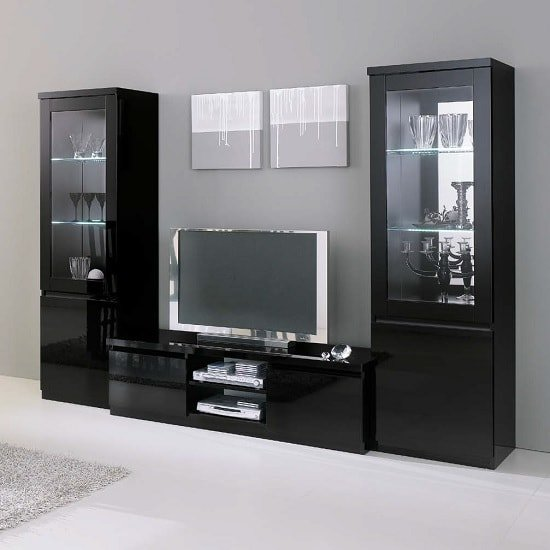 Regal Living Room Set In Black With High Gloss Lacquer And LED