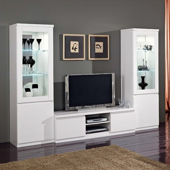 Regal Living Room Set In White With High Gloss Lacquer And LED