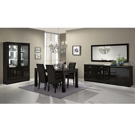 Regal Sideboard In Black With High Gloss Lacquer And 3 Doors_2