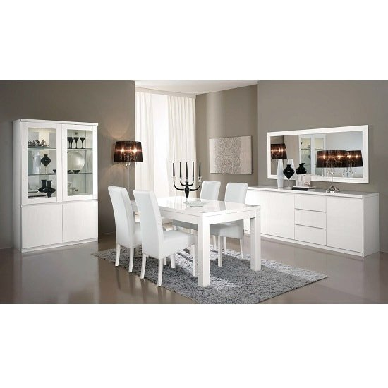 Regal Display Cabinet In White With High Gloss Lacquer And LED_2