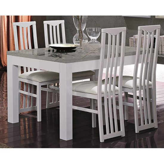 Regal Gloss White And Grey Dining Table 4 Cexa White Chairs
