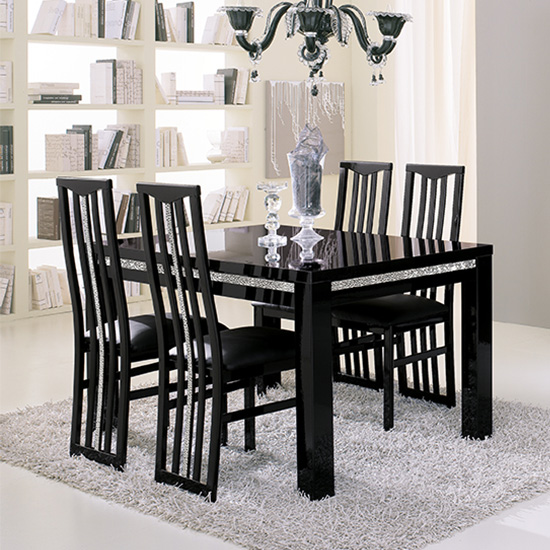 Regal Wooden Dining Chair In Black With Crystal Details_2