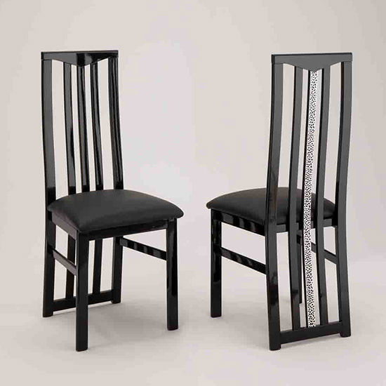 Regal Wooden Dining Chair In Black With Crystal Details_1