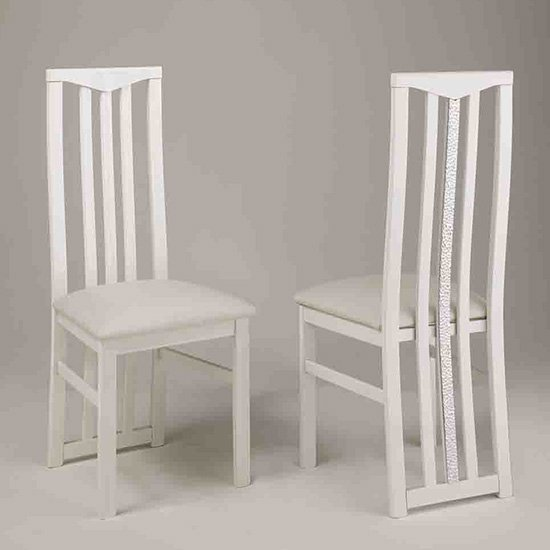 Regal Wooden Dining Chair In White With Crystal Details