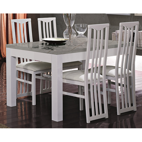 Regal Wooden Dining Table In Gloss White And Grey