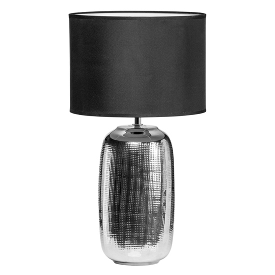 Regeto Black Fabric Shade Table Lamp With Chrome Ceramic Base