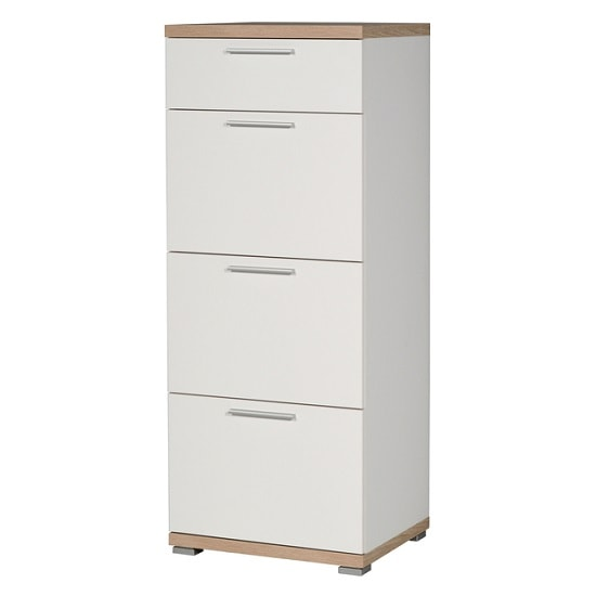 Reggio Wooden Chest Of Drawers In White And Sonoma Oak