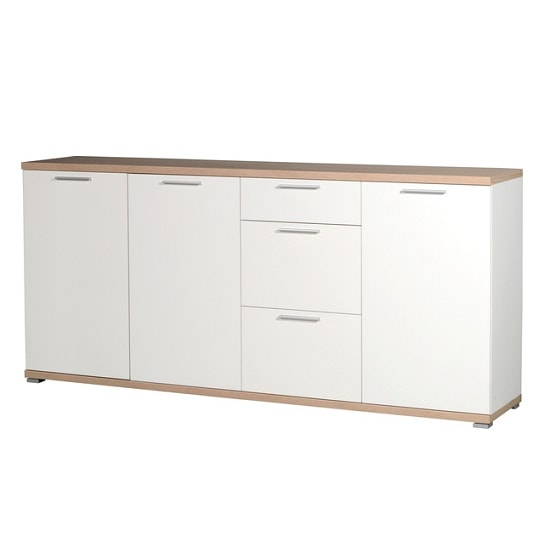 Reggio Wooden Sideboard In White And Sonoma Oak With 3 Doors