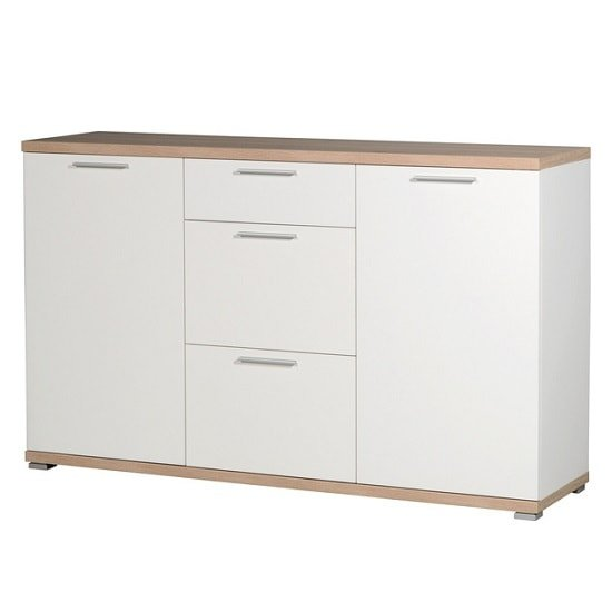 Reggio Wooden Sideboard In White And Sonoma Oak With 2 Doors
