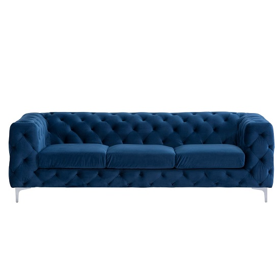 Regina Chesterfield 3 Seater Sofa In Blue Fabric And Chrome Feet_2