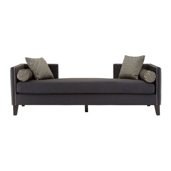 Mesarthim Velvet 3 Seater Day Bed Sofa In Dark Grey