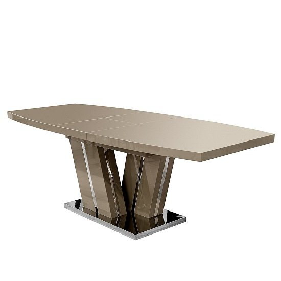 Regis Extendable Dining Table In Camel Brown High Gloss