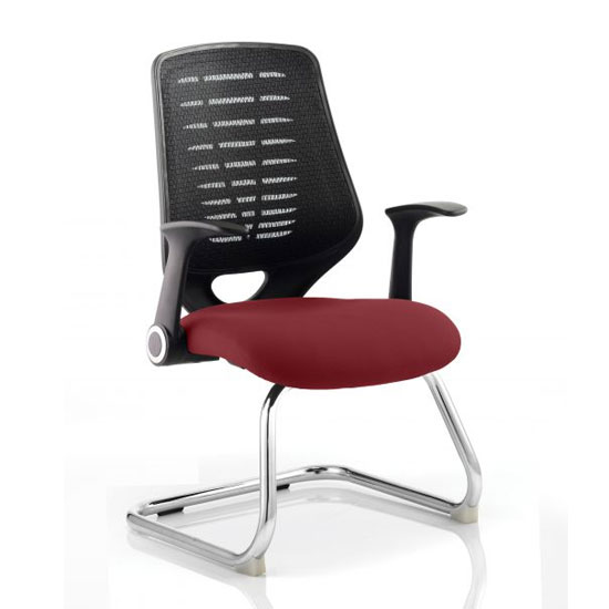 Relay Black Back Office Visitor Chair With Ginseng Chilli Seat