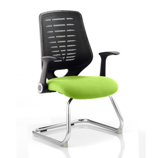 View Relay black back office visitor chair with myrrh green seat