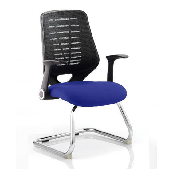 Relay Black Back Office Visitor Chair With Stevia Blue Seat_1