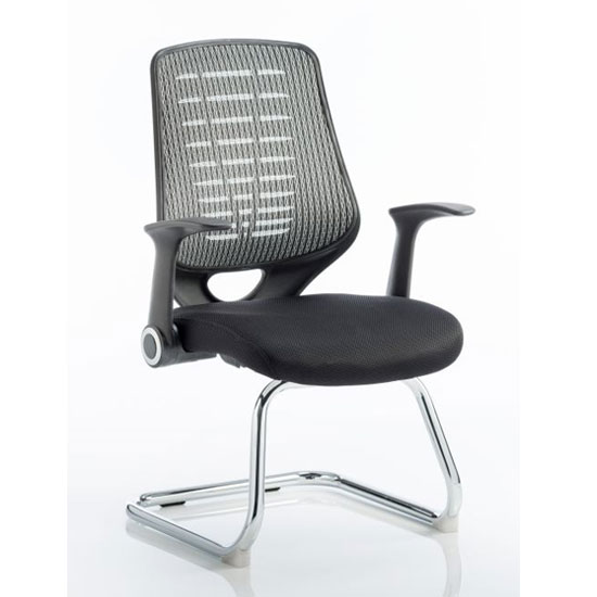Relay Silver Back Office Visitor Chair With Airmesh Black Seat