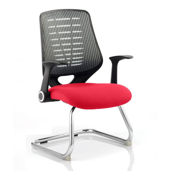Relay Silver Back Office Visitor Chair With Bergamot Cherry Seat