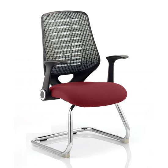 Relay Silver Back Office Visitor Chair With Ginseng Chilli Seat