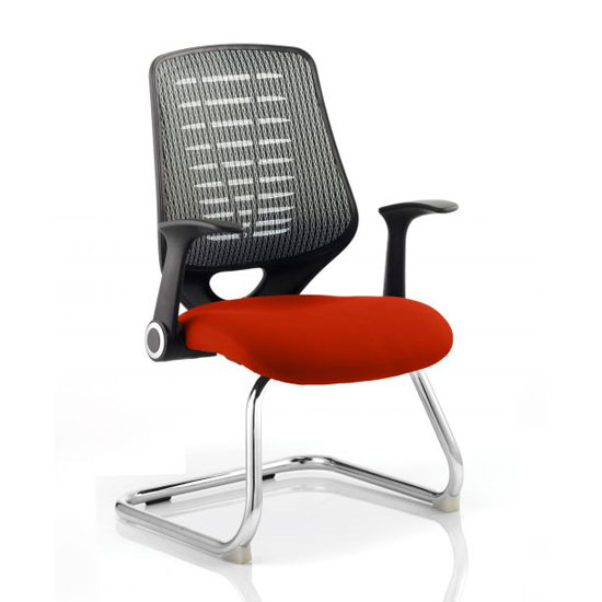 Relay Silver Back Office Visitor Chair With Tabasco Red Seat