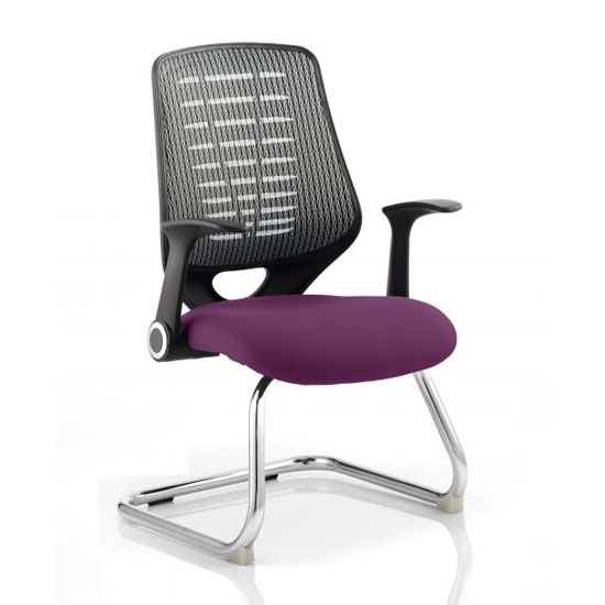 Relay Silver Back Office Visitor Chair With Tansy Purple Seat