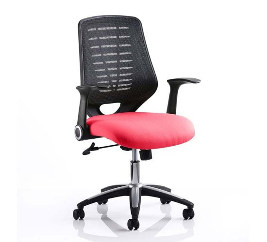 Relay Task Black Back Office Chair With Bergamot Cherry Seat_1