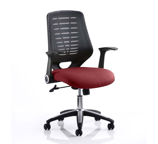 Relay Task Black Back Office Chair With Ginseng Chilli Seat