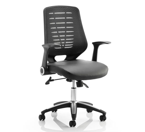 View Relay task black back office chair with leather black seat
