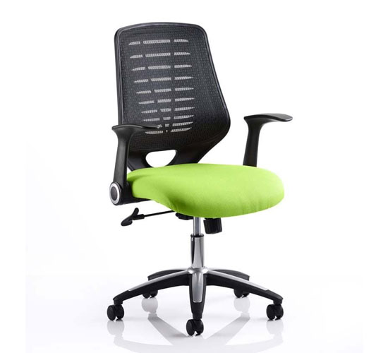 Relay Task Black Back Office Chair With Myrrh Green Seat