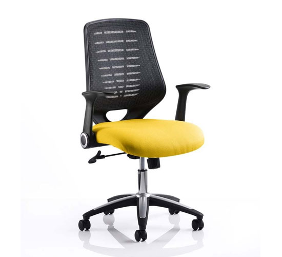 Relay Task Black Back Office Chair With Senna Yellow Seat