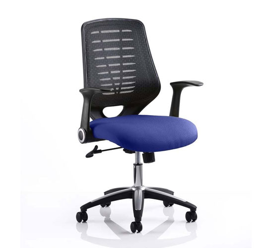Relay Task Black Back Office Chair With Stevia Blue Seat