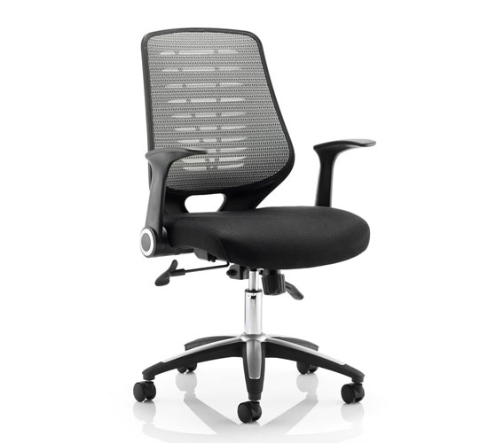 Relay Task Silver Back Office Chair With Airmesh Black Seat