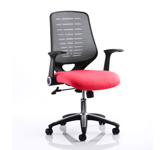 Relay Task Silver Back Office Chair With Bergamot Cherry Seat