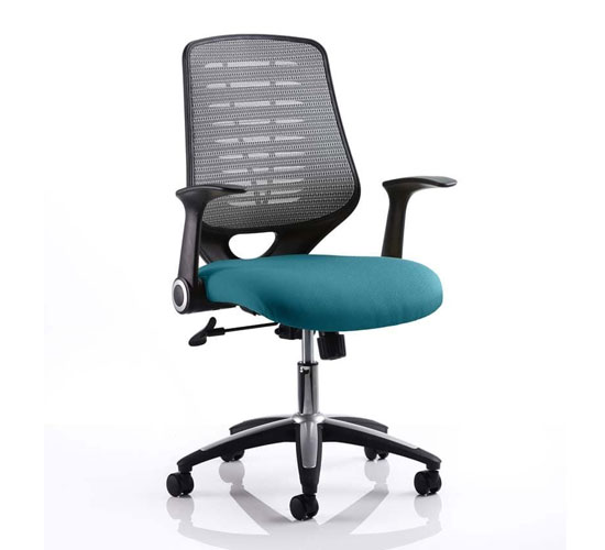 Relay Task Silver Back Office Chair With Maringa Teal Seat