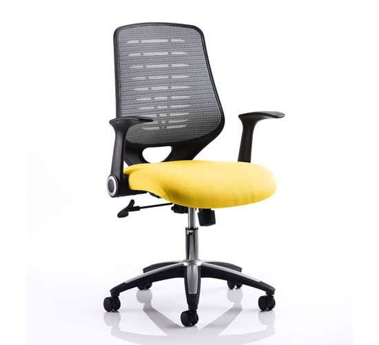 Relay Task Silver Back Office Chair With Senna Yellow Seat