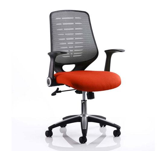 Relay Task Silver Back Office Chair With Tabasco Red Seat