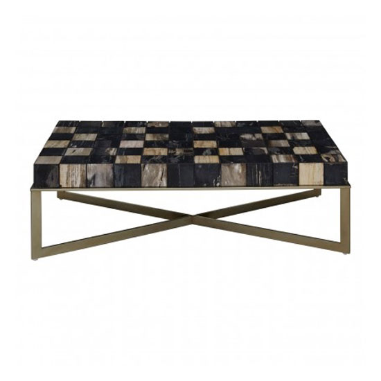 Product photograph showing Relics Coffee Table In Multicolour With Stainless Steel Frame