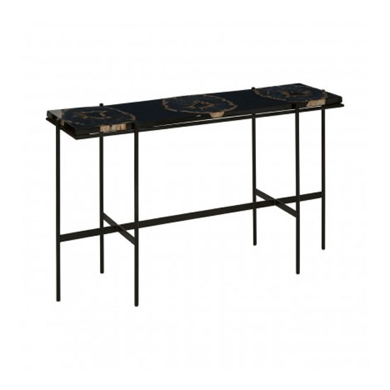 Relics Console Table In Black With Resin Powder Coated Frame_2