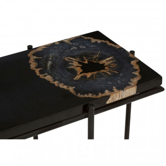 Relics Console Table In Black With Resin Powder Coated Frame_4