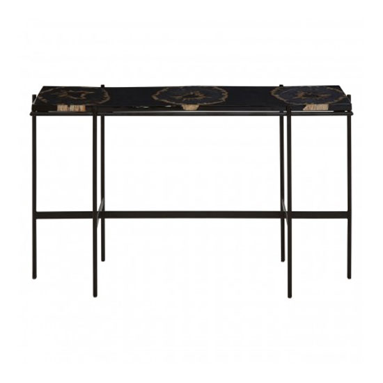 Relics Console Table In Black With Resin Powder Coated Frame_1