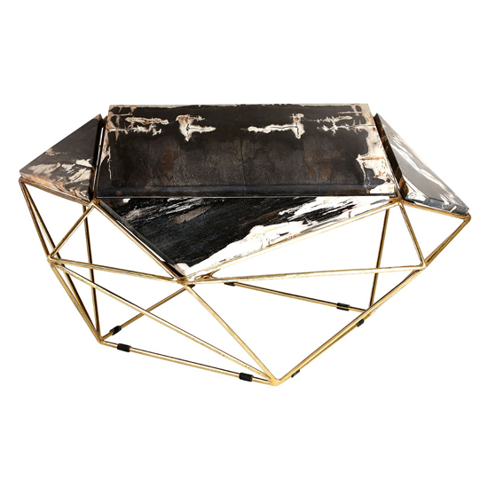 Relics Dark Petrified Wooden Geometric Coffee Table