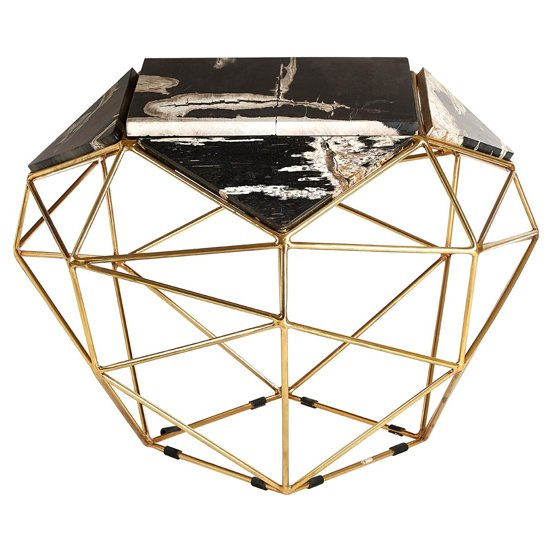 Relics Dark Petrified Wooden Geometric Side Table In Gold Frame
