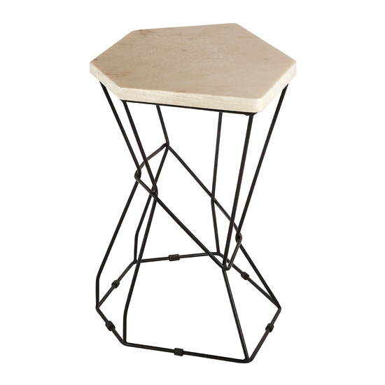 Relics Natural Onyx Stone Polygonal Side Table With Black Frame_2
