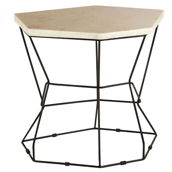 Relics Natural Onyx Stone Polygonal Side Table With Black Frame_3